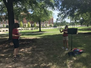 flute lesson outside