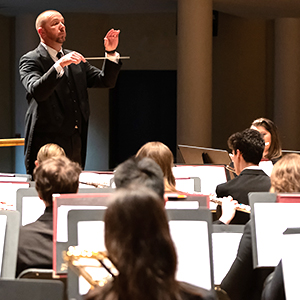 conductor in front of a concert band